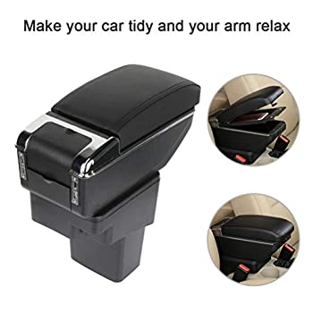 ROADFAR Black with Red Stitching Center Console Armrest Organizer Box Replacement fit for Nissan Juke 2010 2011 2012 2013 2014 2015 Armrest Pad Black