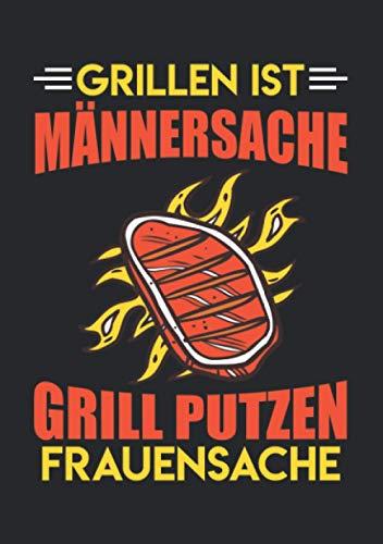 Notizbuch A5 kariert mit Softcover Design: Grillen ist Männersache Putzen Frauensache Spruch Vatertag: 120 karierte DIN A5 Seiten