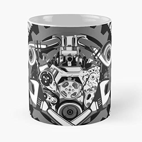 Taza de café de cerámica con texto en inglés 'Garage Cars - Taller de cumpleaños para coche, retro, maestro mecánico, de 315 ml