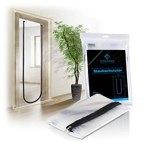 TOOLCORE® Staubschutztür mit Reißverschluss 1,10x2,20m | 1 Stück | Ideal als Staubschutzwand, Bautür, Schmutzschleuse