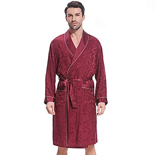 qazxsw Men's Sleepwear Nightgown Silk Pyjamas Men's Long-Sleeved Silk Robe Fashion Men's Home Service Bathrobe