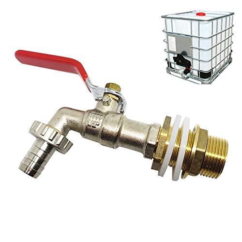 Knowled - Adaptador de depósito IBC, piezas de conexión de válvula de repuesto para conector de rosca de 1/2 pulgadas, piezas de conexión de manguera de depósito de almacenamiento de agua de latón