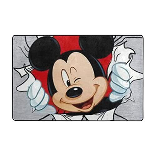 Alfombra de Mickey Mouse Minnie adecuada para sala de estar, dormitorio, zona de los niños, decoración de casa de arte suave y cómoda, 91 x 60 cm