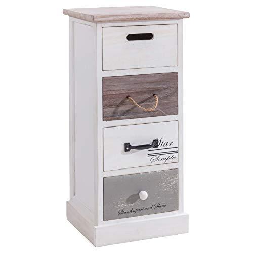 IDIMEX Chiffonnier Salva étagère de Rangement avec 4 tiroirs en Bois de Paulownia Style Shabby Chic Vintage Rustique Blanc Brun Gris