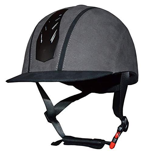 CX ECO Einstellbarer Reithelm Samt-Reithelm Western-Reithelme Unisex-Reiter Sicherheit Kopfschutz,Gray,L