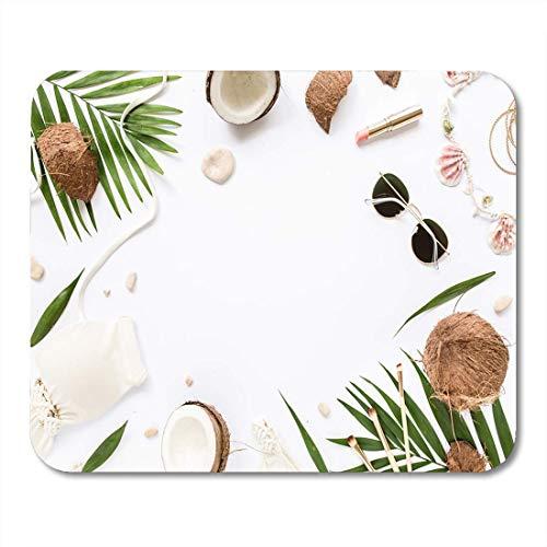 Muis Pads Vrouwelijke Beige Badpak Beach Accessoires Tropische Palm Leaf Takken voor notebooks, Desktop Computers matten