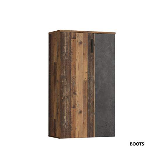 Forte BTS321-C754 Schuhschrank klein, Holzwerkstoff, Old Wood Vintage Dekor + Betonoptik Dunkel, 68.90 x 34.79 x 120,41 cm, One Size