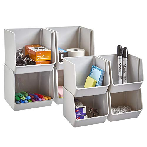 STORi Plastic Stacking Organizer Bins for Office, Pantry, and Bath | Set of 8 in 2 Sizes | Gray