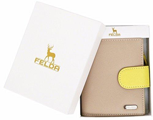 Felda portafoglio RFID da donna - 10 fessure per carte - vera pelle - multicolore - colori nude