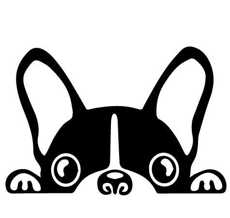 DorAn Boston Terrier Peeking Sticker Vinyl Car Decoration Window Wall Sticker Laptop Decal Peep Animal Decorative Stickers(2 Packs) (Black)
