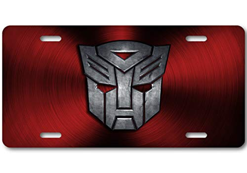 Voss Collectables Transformers Autobot Color Logo Aluminum Car Truck License Plate Tag (Red)