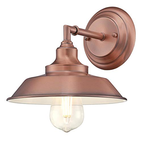 Westinghouse Lighting 6370400 Iron Hill One-Light Indoor Wall Sconce Light Fixture, Washed Copper Finish with