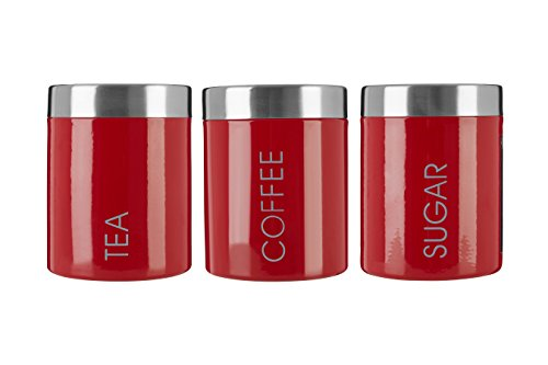 Premier Housewares Liberty Tea Coffee and Sugar Canisters - Set of 3 Red