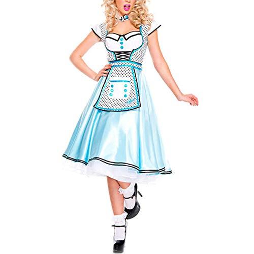 ACHICOO Ein Überraschungs-Kostüm für einen Freund Weibliches Dienstmädchen Kostüm Kleid blau Kleid für Cosplaying Halloween Märchenfiguren