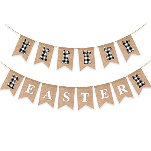 2pcs Easter Burlap Banner Bunny Buffalo Plaid Check Garlands Farmhouse Black White Sign Rabbit Silhouette Rustic Holiday Decoration