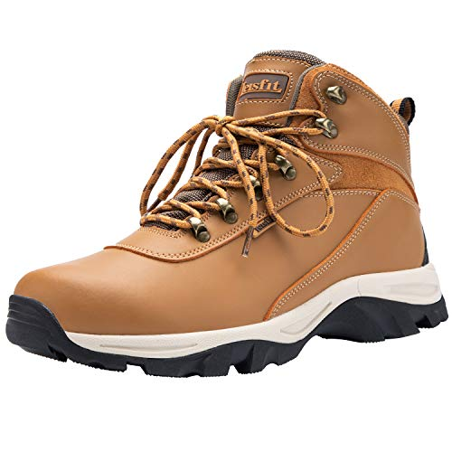Leisfit Stylish Waterproof Casual Winter Snow Boots Mid Calf Leather Hiking Boots for Men Wheat 7.5