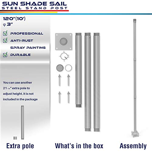 Windscreen4less Sun Shade Sail Pole Kit, Stand Post – 10' Feet Tall (120'') Strong Replacement Poles, Awning Canopy Support Pole for Concrete Deck Backyard Mounting- 1 Pole (Canopy Support)