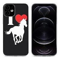 私は馬を愛します I Love Horse iPhone 12&iPhone 12 Pro&iPhone 12Pro Max&iPhone 12 miniと互換性のあるクリスタルクリアTPUケース、アンチイエロー、保護耐衝撃落下保護ケース