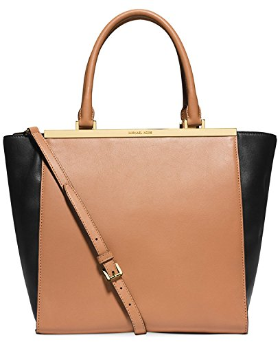 Michael Kors Lana Colorblocked Large Convertible Tote Suntan/black