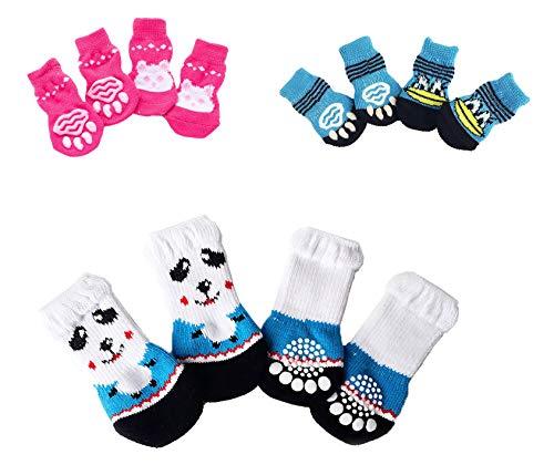 Bgfuni Calcetines para Perros, Calcetines Antideslizantes para Perros Gatos, 12pcs Calcetines para Mascotas para el Uso en Interiores Ajuste para Perros y Gatos pequeños y medianos, 3 Estilos