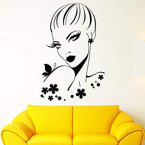 Tianpengyuanshuai fotobehang schoonheid kapsalon meisjes kleedcabine decoratie vinyl raamsticker vlinder bloemen muurschildering