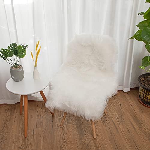 YIHAIC Faux Lammfell Schaffell Teppich, Kunstfell in Super weich Lammfellimitat Teppich Longhair Fell Optik Nachahmung Wolle Bettvorleger Sofa Matte (Weiß, 50 x 80 cm)