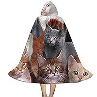 ハロウィンフード付きマント、たくさんの猫キッズガールズボーイズティーンズアダルト用コスプレコスチューム