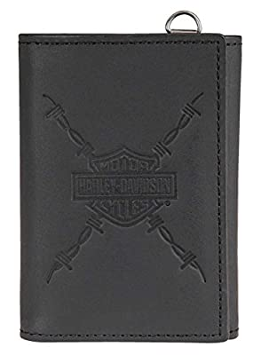 Harley-Davidson Men's Danger Zone Tri-Fold Genuine Leather Wallet HDMWA11213-BLK