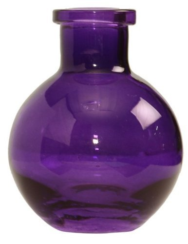 Ivy Lane Design 5-Pack Transparent Glass Vases, 3.5-Inch, Purple