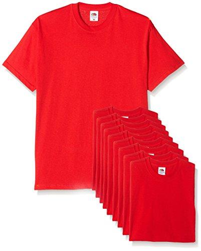 Fruit of the Loom Mens Original Pack, T-Shirt Uomo, Rosso (Red), Medium