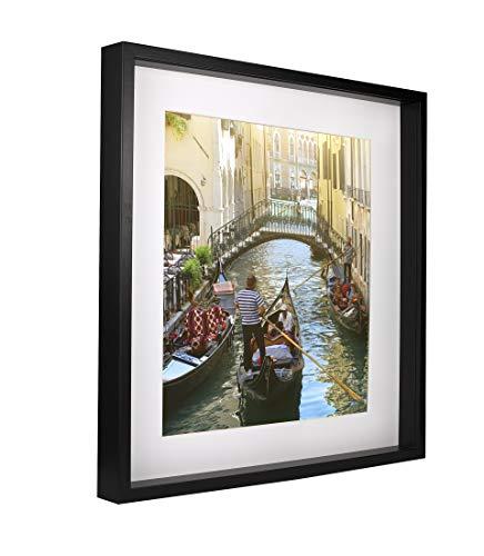 BD ART 50 x 50 cm Box 3D Marco de Fotos Profundo con Paspartu 40 x 40 cm, Color Negro