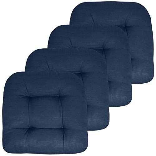 Sweet Home Collection Patio Cushions Outdoor Chair Pads Premium Comfortable Thick Fiber Fill Tufted 19' x 19' Seat Cover, 4 Count (Pack of 1), Navy...