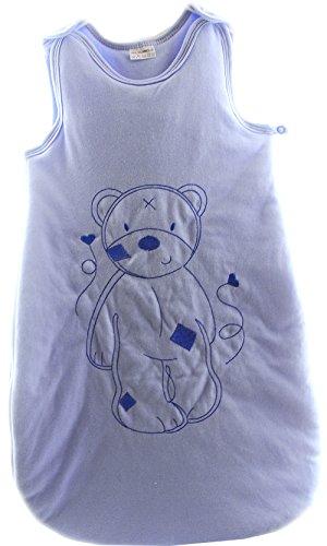 Baby slaapzak rits babyslaapzak zonder mouwen borduurwerk beer (73cm, blauw)