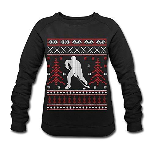Eishockey Ugly Christmas Sweater Weihnachten Frauen Bio-Sweatshirt Slim-Fit, S, Schwarz