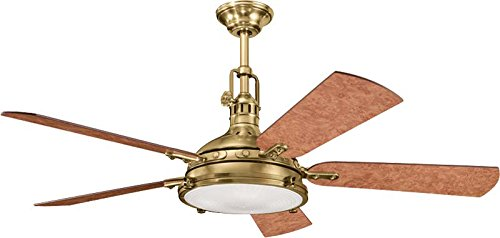 Kichler 300018BAB 56-Inch Hatteras Bay Fan, Burnished Antique Brass