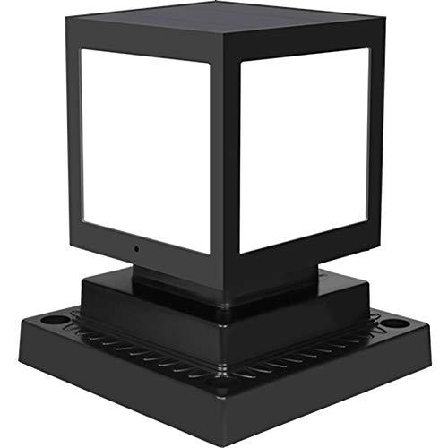 AWISAWIS Solar Solar Pfostenleuchte, Außenleuchte ABS Wasserdicht Schwarz Gartenlampe Minimalistische Sockelleuchte Outdoor Solar Post Cap Hof Terrasse Spalte Wegeleuchte,Warm Light
