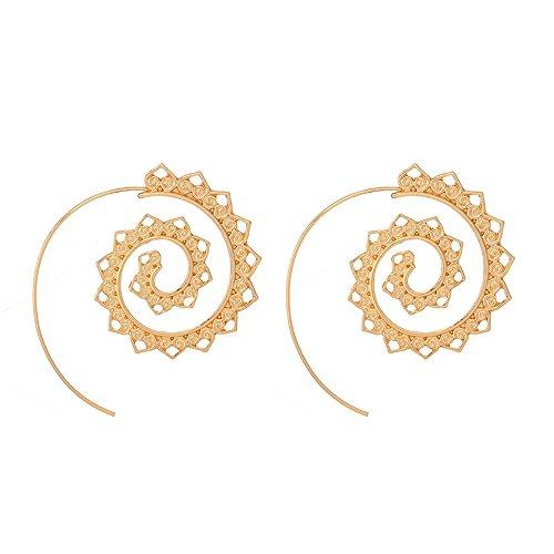 """Orecchini cavi a spirale, con motivo """"fiori di loto"""", in stile elegante / arabesco / boho-chic / bohémien / etnico / tribale / minimalista, regalo ideale per donna / ragazza / mamma, colore: Oro"""