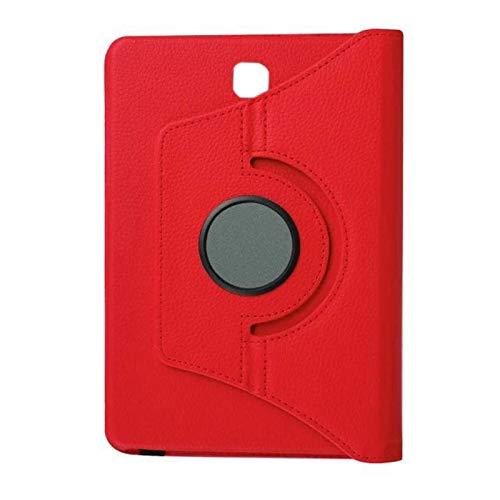 Nrpfell Funda de Cuero con Soporte Cubierta Protectora Plana para TabS2 9,7 Pulgadas T815C T810 Carcasa de Base con Soporte Giratorio 360 (Rojo)