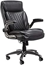 AmazonCommercial Ergonomic High-Back Rhombus-Stitched Leather Executive Chair, with Flip-up Armrests and Motive Lumbar Support, Grey