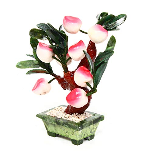 DYRABREST Artificial Bonsai Tree,Jade Money Tree Plant,Jade Orange Peach Bonsai Decor Hardstone Gemstone Tree Fruit Plant Feng Shui Prosperity (Peach)