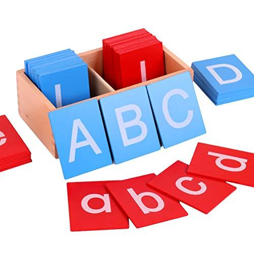 Lettres Cartes de Papier de Verre sensorielles Alphabets Jouets Jouets éducatifs en Bois Lettres Rouges et Bleues Carte