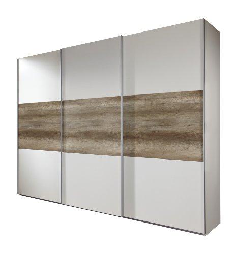 Wimex Kleiderschrank/ Schwebetürenschrank Match Up, (B/H/T) 313 x 210 x 65 cm, Alpinweiß/ Absetzung Wildeiche