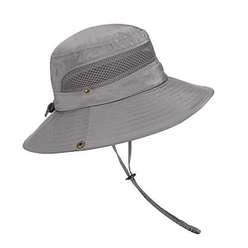 TAGVO Wide Brim Mesh Sonnenhut Faltbar Sommer UV Schutz Fischerhut Outdoor Camping Wandern Reisen Visier Caps mit einem verstellbaren Chin Cord für Mann Frau