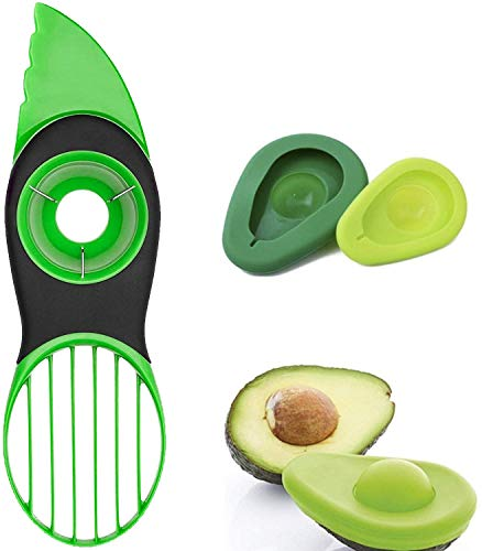 OOK Avocado Slicer, 3 in 1 Avocado Cutter mit Avocado Saver oder Avocado Kissen & Avocado Cover - Perfektes Küchengerät Multifunktionales Avocado Tool
