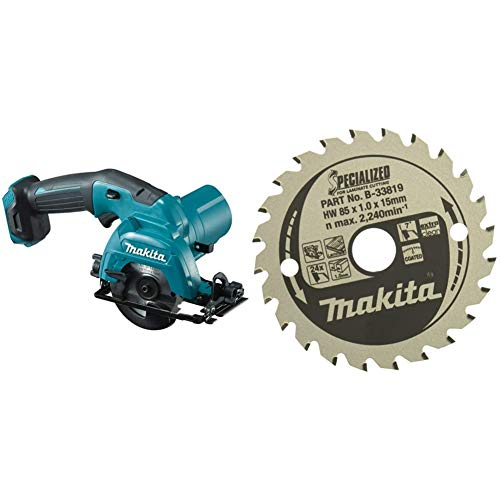 Makita HS301DZ Akku-Handkreissäge 10,8 V (ohne Akku, ohne Ladegerät) & B-33819 SPECIALIZED Saegeblatt85x15x24Z, 85 x 15mm