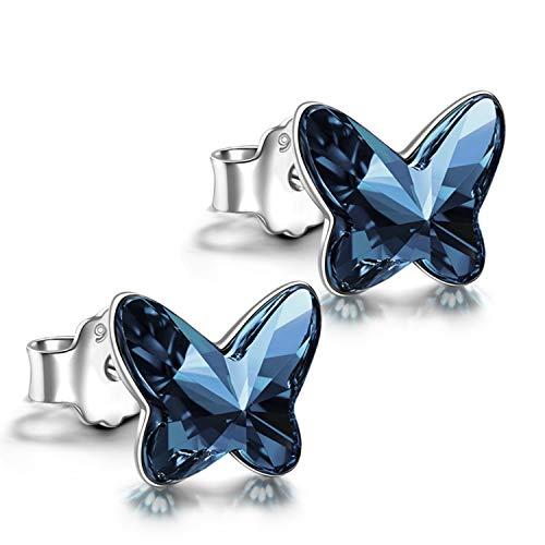 ANGEL NINA Ohrstecker Silber, Geschenk für frauen Schmetterling Ohrringe silber 925 Geschenke für mädchen Swarovski Kristall schmuck Damen