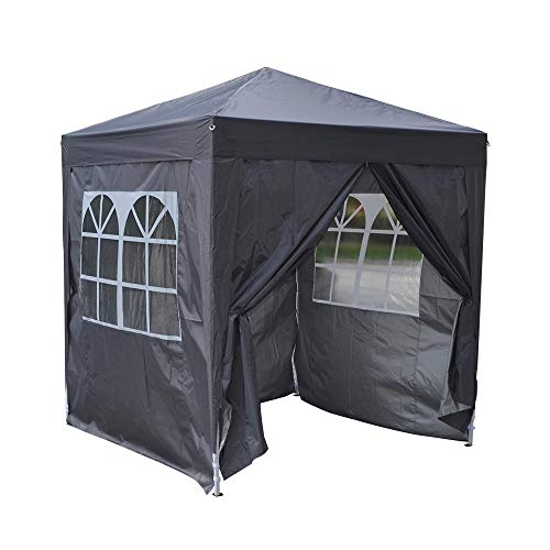 Benico Pop Up Gazebo with 4 Sides and Carry Bag, Heavy Duty Pop-up Tent 2x2m, Folding Marquee Tent Canopy, Event Shelter for Garden Wedding Party Camping Outdoor Picnic (Grey)
