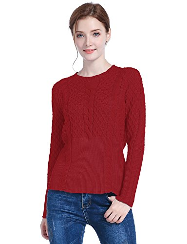 v28 Women's Cotton Cable Knitted Crew-Neck Casual Long Sleeves Pullover Sweater (Large, Wine)