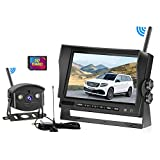 SAMFIWI HD1080P Digital Wireless Backup Camera System Kit Built in DVR with Stable Signal 7''LCD Monitor Support Split/Quad Screen Free 32GSD Card + Extended Antenna Suitable for Truck/Trailer/RV/Van