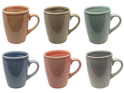 MC Trend 6er Set Kaffeebecher - harmonische Farben Tassen Geschirr Kantine Küche zu Hause 350 ml (6er Set ORANGE-Taupe-Gruen-BLAU-Rose-GRAU)